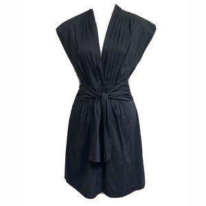 Anne Klein Black Pleated Wrap Button Shift Dress